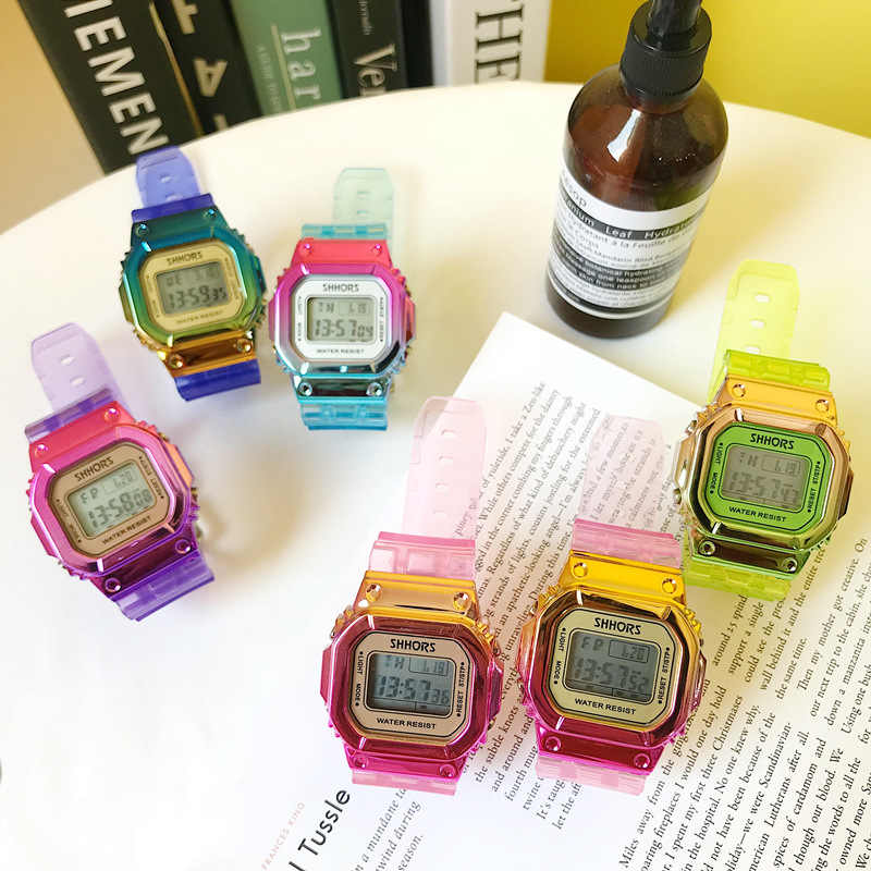 עלה זהב נשים תכליתי שעון דיגיטלי עמיד למים נשים שעונים שיפוע יוניסקס זכר שעון מלבן ילדי ספורט שעונים