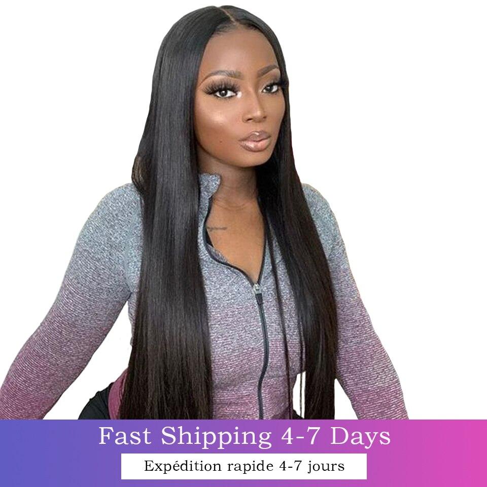 Longo em linha reta 4x4 fechamento do laço peruca de cabelo humano 8-30 polegadas pré arrancadas 13x4 perucas da parte dianteira do laço para preto remy brasileiro feminino