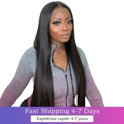 Perruque longue droite 4x4 dentelle fermeture cheveux humains 8-30 pouces pré plumé 13X4 Lace Front perruques pour les femmes noires brésilien Remy