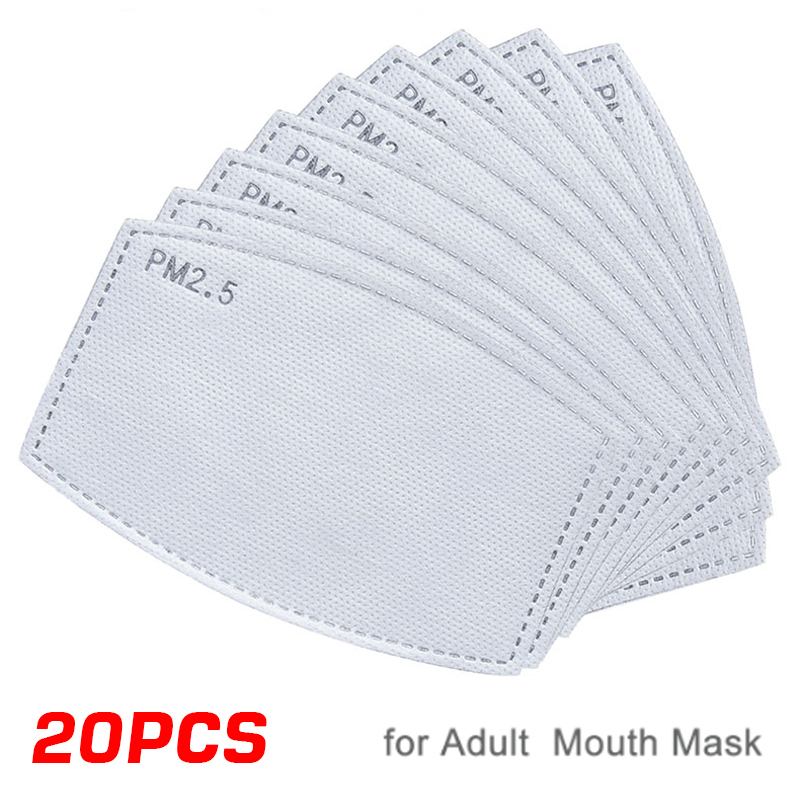 20pcs/Lot 5 Layer Mask Replacement Filter Activated Carbon Filter For Mount Mask Anti-dust PM2.5 Filter For Adult Mouth-muffle