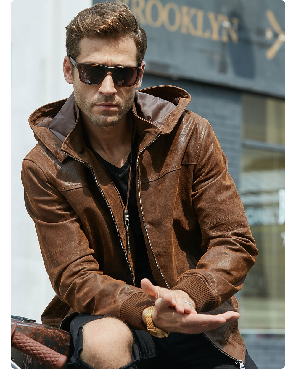 Ha0d084194d9d48d4a8b982c0af56da7aT New Men's Winter Jacket Made Of Genuine Pigskin Leather With A Hood, Pigskin Motorcycle Jacket, Natural Leather Jacket