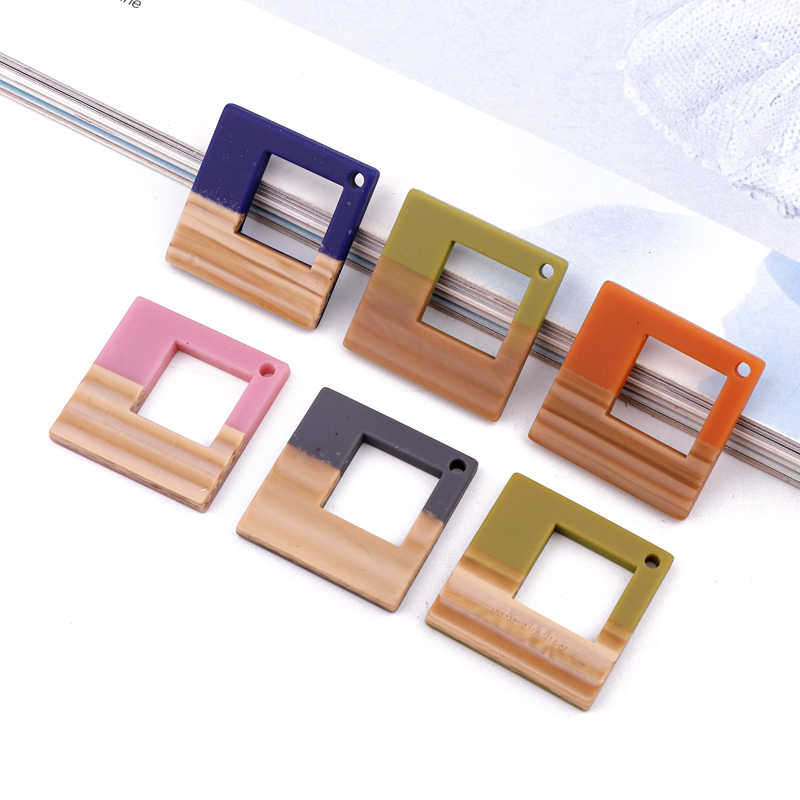 3pcs Retro Hollow Square Earrings Resin Charms DIY Findings Imitation Wood Pendant Necklace Keychain Handmade Jewelry Accessory