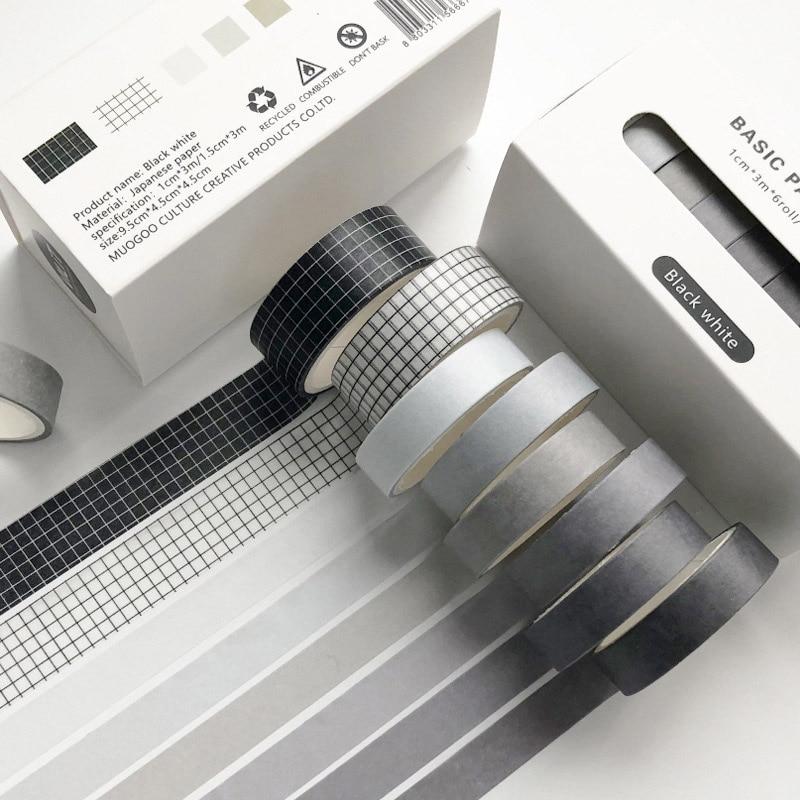 8 Pcs/Set Cute Solid Color Washi Tape Grid Masking Tape  Kawaii Decorative Adhesive Tape Sticker Scrapbook Diary Stationery Tape