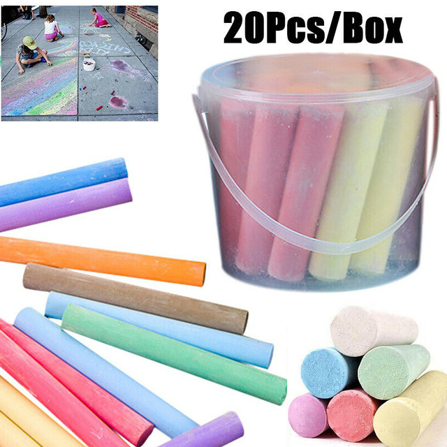 20pcs/set Colorful Chalk Jumbo Sidewalk Chalk Pens Playground Giant Chalks School Educational Blackboard Supplies