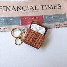 wood grain protective Bluetooth headset cover for airpods case natural color e-co friendly earphone holder with hook  BIA010 co e