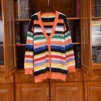 2020 Autumn Winter Hot Fashion High quality Women's rainbow stripe V neck Mohair cardigans coat C372