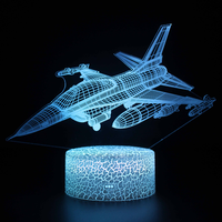 Airliner Fighter-Lámpara de mesita de noche táctil, modelo de la serie 3D, regalo creativo, luz LED