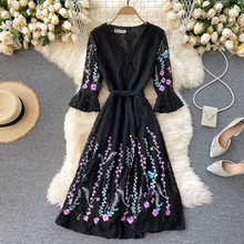 Autumn Vintage Black Lace Embroidered Dress Women Sexy V-Neck Flare 3/4 Sleeve Vestidos Female A-Line Robe Fashion New 2021