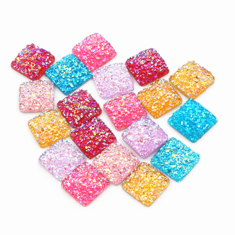 New Style 40pcs 12mm Square Mix Colors Druzy Natural Stone Convex Flat Back Resin Cabochons Jewelry Accessories Supplies