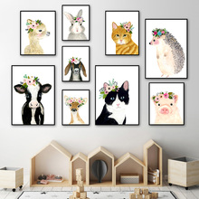 Flower Cat Hedgehog Pig Cartoon Wall Art Print Canvas Painting  Nordic Posters And Prints Pictures Baby Kids Room