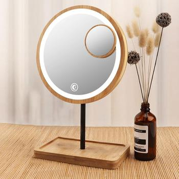 Wooden Desktop LED Makeup Mirror 3X Magnifying USB Bright Charging Beauty Screen Touch Diffused Mirrors Adjustable Light K6S1