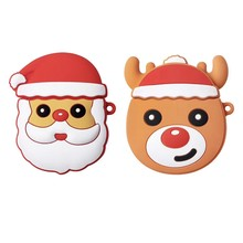 Christmas Gift Santa Claus Elk Silicone Case Earphones for Apple Airpods Bluetooth Wireless Earphone Protective Skin Cover Box(China)