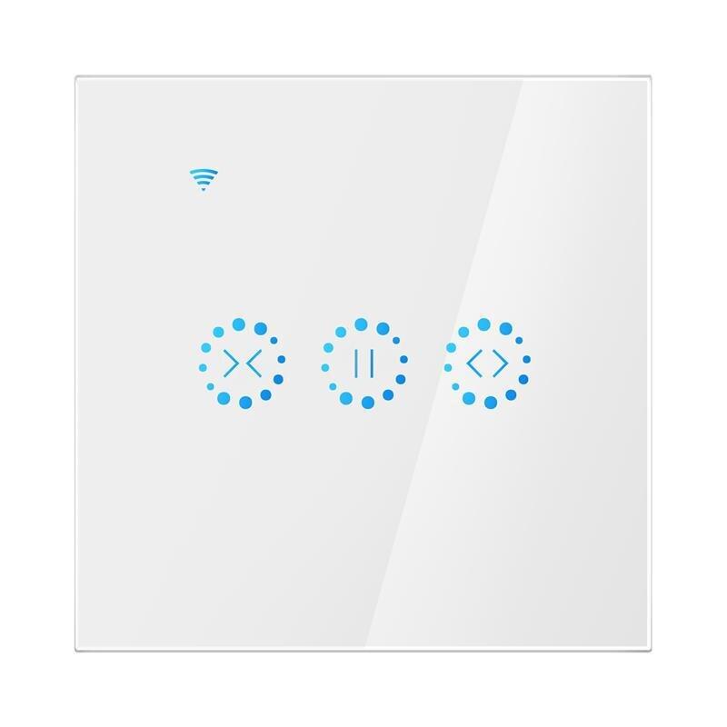 Interruptor de cortina eléctrico con WiFi para casa inteligente de la UE, interruptor de cortina TUYA APP Control de voz por Alexa Echo Sunflower Graffiti 2019 nuevo Detector de humo WIFI Tuya APP Sensor de alarma de incendios alarma de humo independiente protección Android