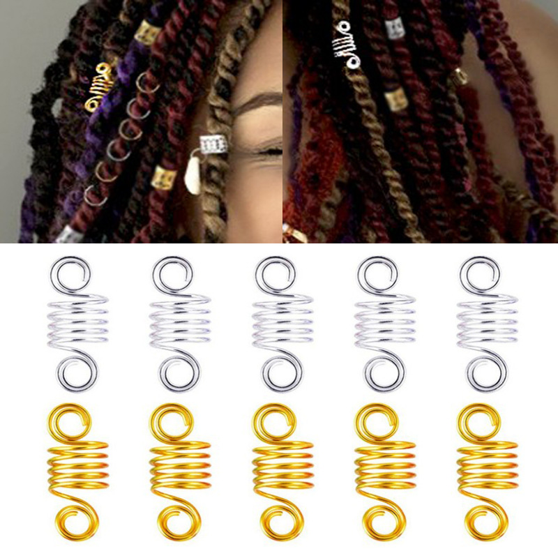 10PCS Adjustable Dreadlock Beads Tube Ring For Braids Hair Beads Braid Cuff Clip Spring Links Men Women Hair Styling Accessories