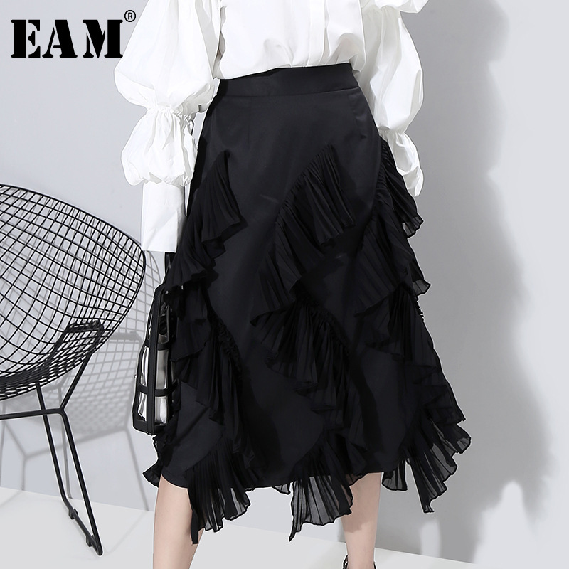 [EAM] High Elastic Waist Black Pleated Ruffles Temperament Half-body Skirt Women Fashion Tide New Spring Autumn 2020 1R412