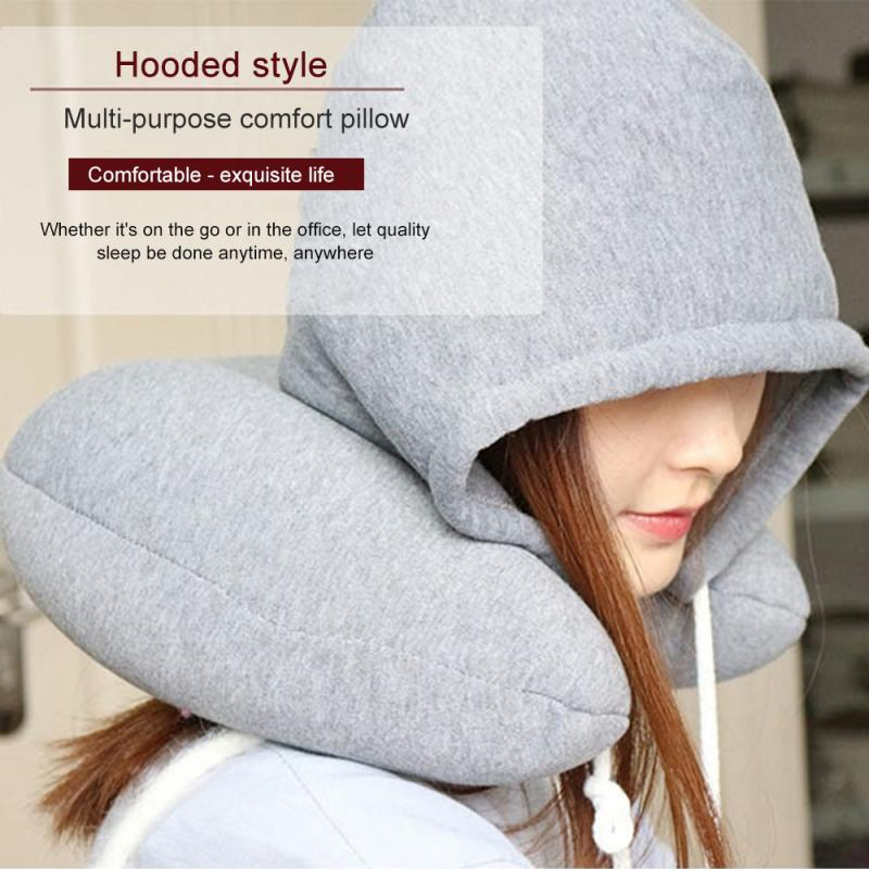 Body Neck Pillow Solid Grey Nap Cotton Particle Pillow Soft Hooded U-pillow Textile Home Airplane Car Travel Rest Accessories image