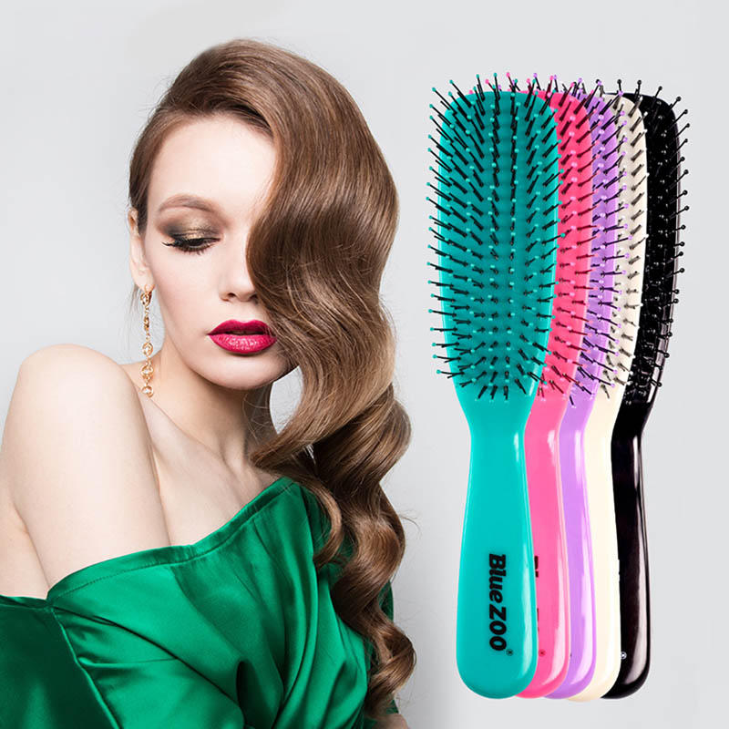 Hair Scalp Massage Comb Hair Brush Bristle Nylon Women Wet Detangle Curly Hair Brush Salon Hairdressing Styling Curly Hair Comb
