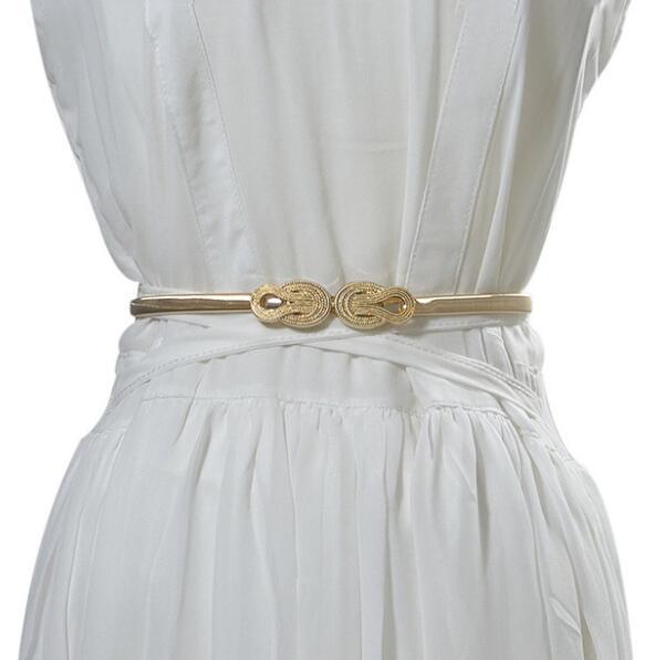 Women's Runway Fashion Elastic Metal Cummerbunds Female Dress Corsets Waistband Belts Decoration Belt R2011