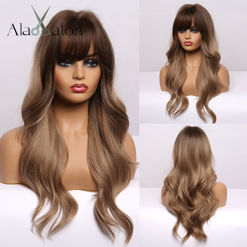 ALAN EATON Ombre Black Brown Long Wave Hair Wigs With Bangs  For Black Women Heat Resistant Fibre Synthetic Wigs Cosplay Party