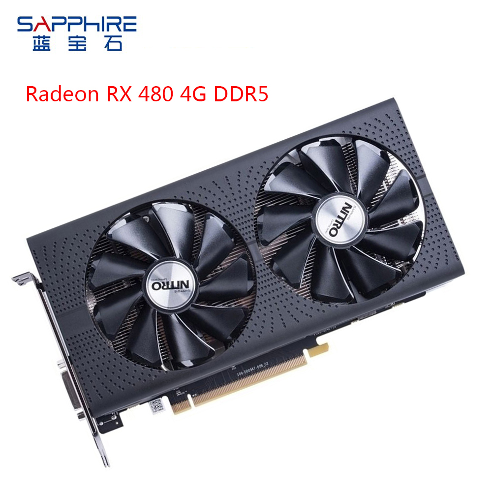 SAPPHIRE AMD Radeon Graphics Card RX 480 4GB GDDR5 Gaming Computer Video Card GPU 256bit PCI Express 3.0 Desktop Used Card Gamer