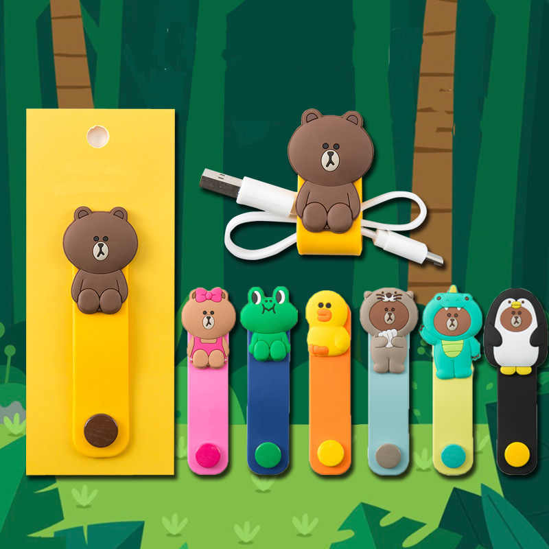 Cartoon Brown Bear Silica Gel Cable Winder Earphone Protector USB Unisex Phone Holder Accessory Organizers Travel Accessories