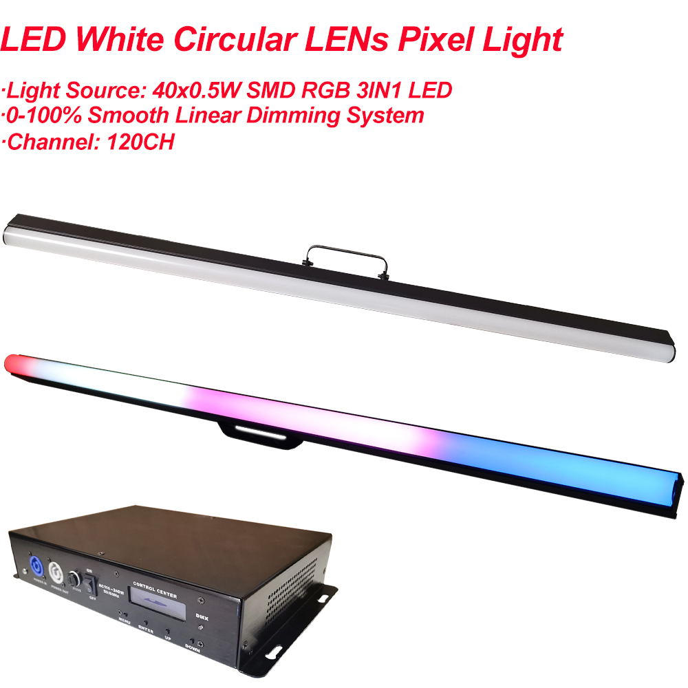 NEW With Controller RGB Wall Washer 40Pcs LED White Circular Lens Pixel Tube Dmx Bar Light Individual Control Pixel Stage Dj Bar