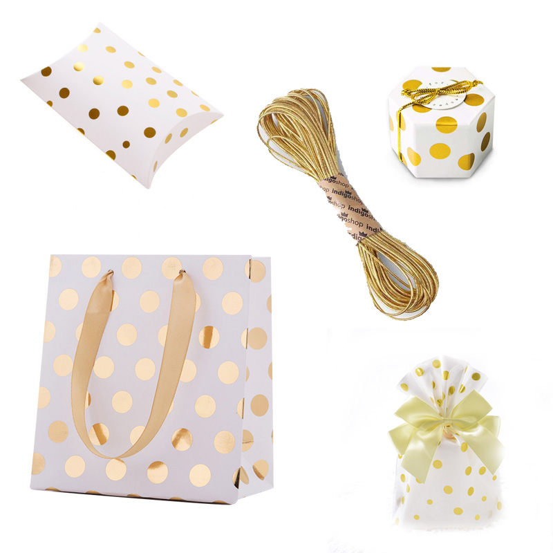 Hot Stamping Dot Paper Plastic Packaging Candy Sweets Wedding Party Goodie Favors Cake Bonbonniere Gift Bag Bags Present Packing