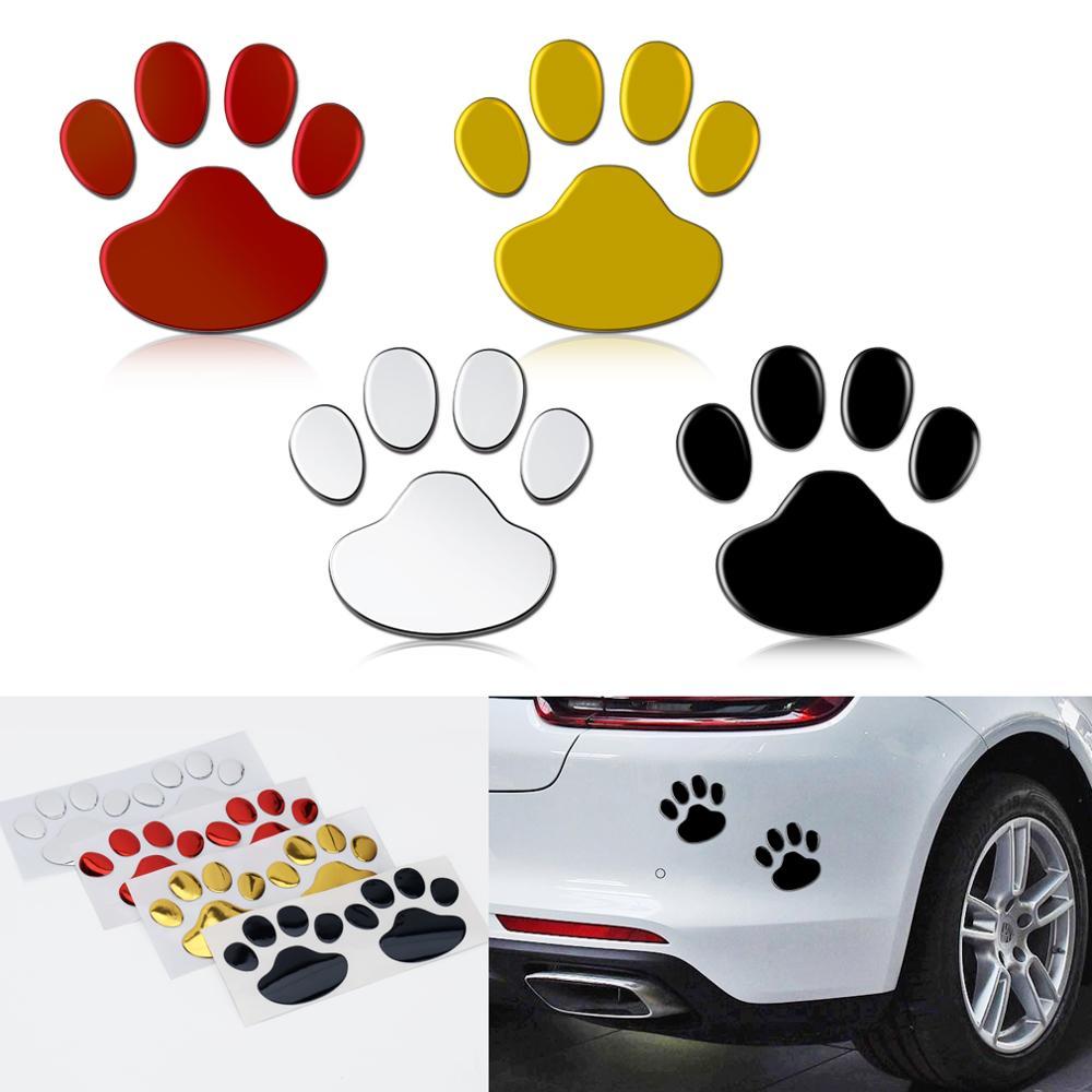 2 Buah Stiker Mobil Desain Keren Paw 3D Hewan Anjing Kucing Beruang Cetakan Kaki Jejak Decal Stiker Mobil Perak Merah emas Hitam title=