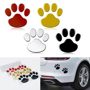 2Pcs/Set Car Sticker Cool Design Paw 3D Animal Dog Cat Bear Foot Prints Footprint Decal Car Stickers Silver Red Black Golden(China)