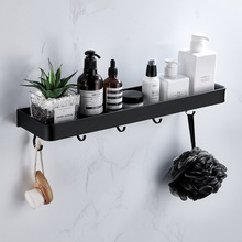 Bathroom Black Shelf with Towel Bar Space Aluminum Shelves Towel Rack with Hook Shampoo Holder Kitchen Storage Rack 30-60 cm