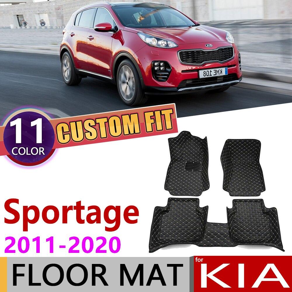 Custom Leather Car Floor Mats For Kia Sportage SL QL 2011~2020 5Seats Foot Pad Carpet Accessories 2012 2013 2014 2015 2016 2019