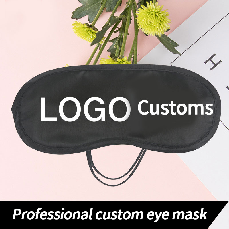 Travel Relax Sleeping Eye Mask Profesional Logo Custom Printing Eye Mask Polyester Eye Patch Black Mask Eye Bandage Men Women