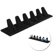 6 Finger Black Velvet Jewelry Ring Display Stand Holder Showcase Organizer New Y4QB держатель кольцо для телефона сова металл коробка