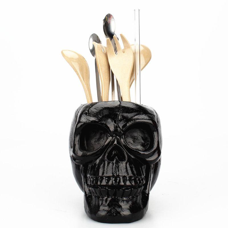 Black Skull Ornament Skeleton Pen Holder Desktop Pencil Organizer Makeup Storage Pen Holder