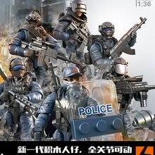 Figura de acción militar de 5,5 cm, soldado de la policía, superhéroe, juguete, arma, ensamblaje, muñeco SWAT, marionetas, ww2, juguetes de construcción en miniatura