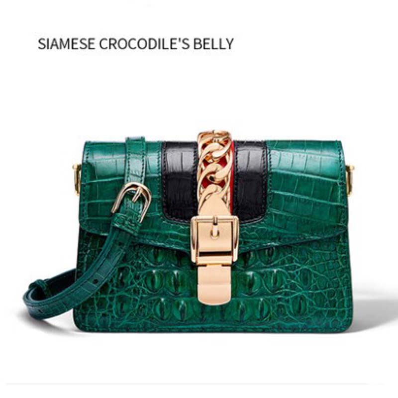 FENGE Crocodile Leather Skin Bag For Female Cross-body Bag  Women Single Shoulder Bag New Fashion Bag Women Handbag