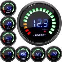 2 cal 52MM cyfrowy 20 LED obrotomierz zwiększyć bar psi próżniowe termometr do wody temperatura oleju naciśnij woltomierz powietrza/paliwa wskaźnik EGT temp obr/min miernik