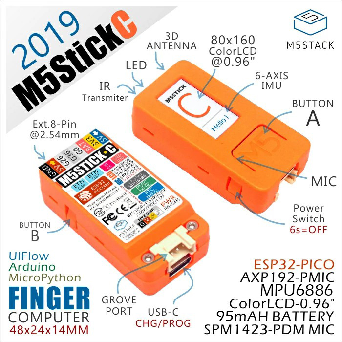 2019 M5StickC ESP32 PICO Mini IoT Development Board Finger Computer With Color LCD Built-in Battery MPU6886