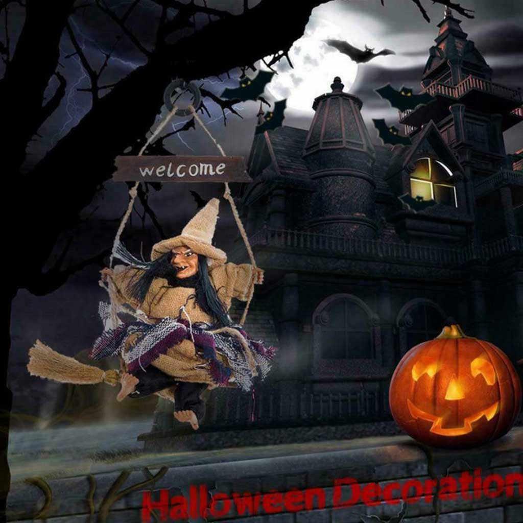 2020 ฮาโลวีนแขวนตกแต่งตุ๊กตาผีแม่มดสยองขวัญน่ากลัวแขวน Ghost Flying Witch จี้เทศกาลตกแต่ง