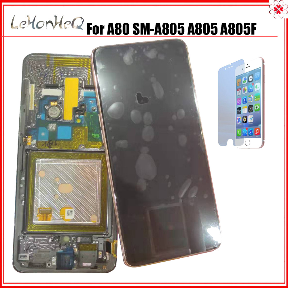 AMOLED <font><b>LCD</b></font> For <font><b>Samsung</b></font> <font><b>Galaxy</b></font> <font><b>A80</b></font> <font><b>LCD</b></font> SM-A805 A805 A805F Frame <font><b>lcd</b></font> Display Touch Screen Digitizer Assembly For <font><b>SAMSUNG</b></font> <font><b>A80</b></font> <font><b>LCD</b></font> image