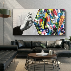 Graffiti Art Hands Catch The Curtain Canvas Paintings on The Wall Art Posters and Prints Modern Street Art Wall Cuadros Pictures