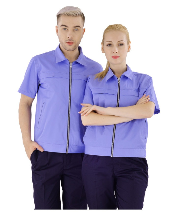 Summer Working Clothes Set Men Women Breathable Quick Dry Factory Workshop Auto Repair Uniforms Short-sleeves Thin Coveralls 4XL