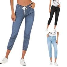 Women'S Fashion Jeans Lace-Up Washed Foot Lantern Denim Cropped Pants