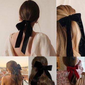 17KM Vintage Black Big Large Velvet Bow Hair Clip For Women Girls Wedding Long Ribbon Korean Hairpins Barrette Hair Accessories 2