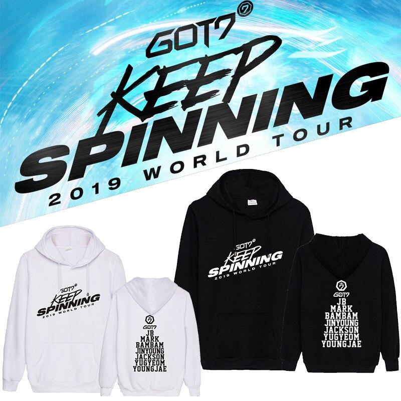 2019 KPOP GOT7 WORLD TOUR KEEP SPINNING Hoodie Pullover Coat Sweater Sweatshirt