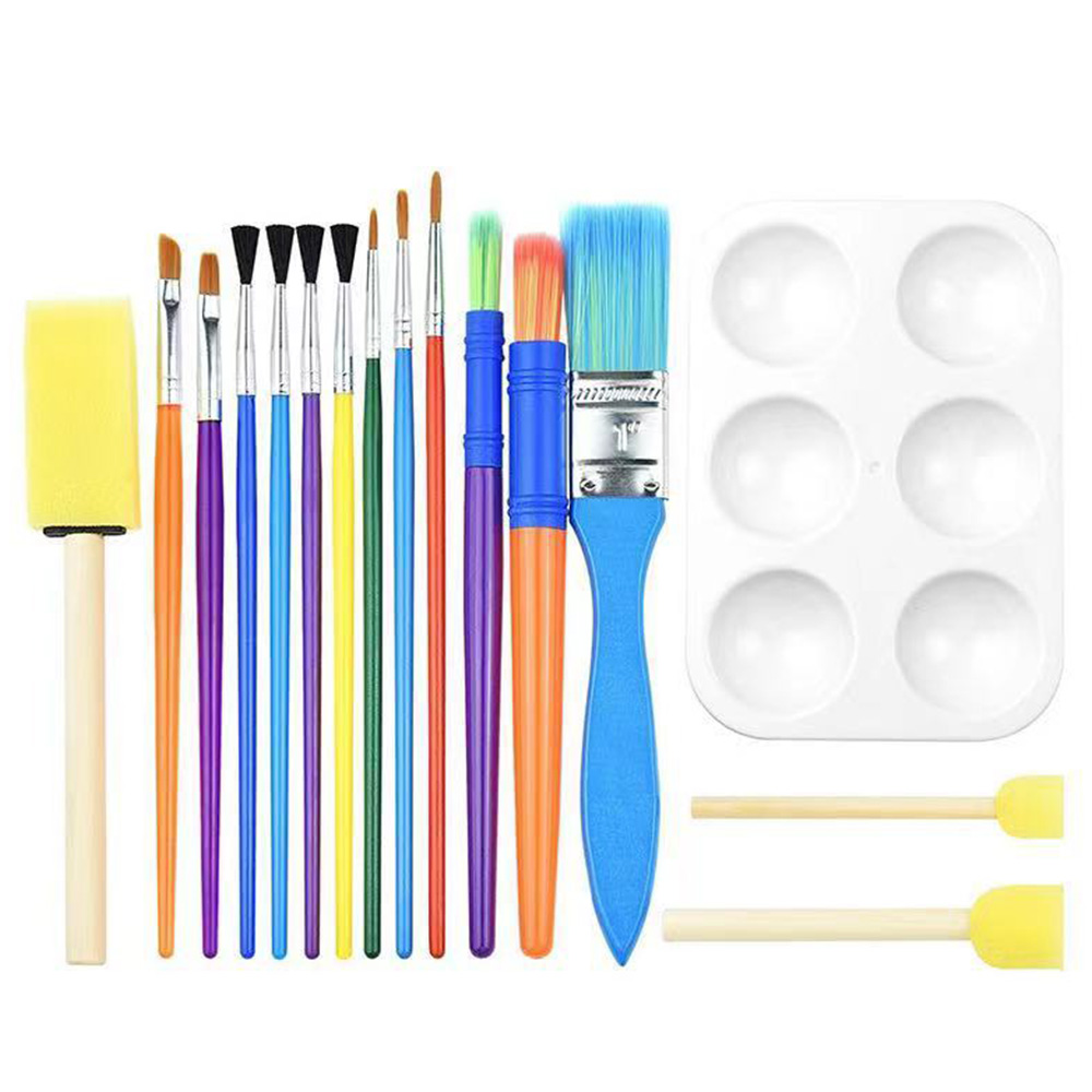 16PCS Colorful Art Paint Brushes Kits Childrens Paintbrush Sponge Brushes DIY Drawing Tools For Watercolor Oil Acrylic Paints