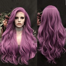 Charisma Purple Wig Long Body Wave Wigs for Women Synthetic Lace Front