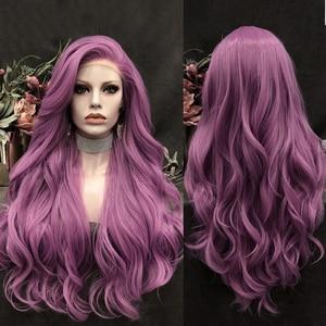 Peluca morada carisma, pelucas largas onduladas para mujer, peluca con malla frontal Natural sintética, pelucas resistentes al sonido para Cosplay del pelo