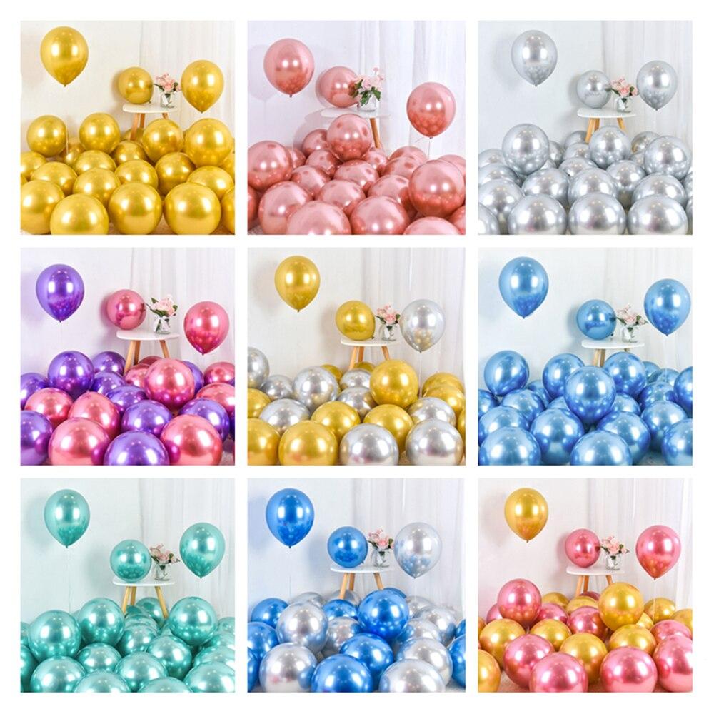 50 шт 10 дюймов хромированные шары из латекса цвета металлик металлический розовый шар цвета розового золота свадебные украшения для дня рож...