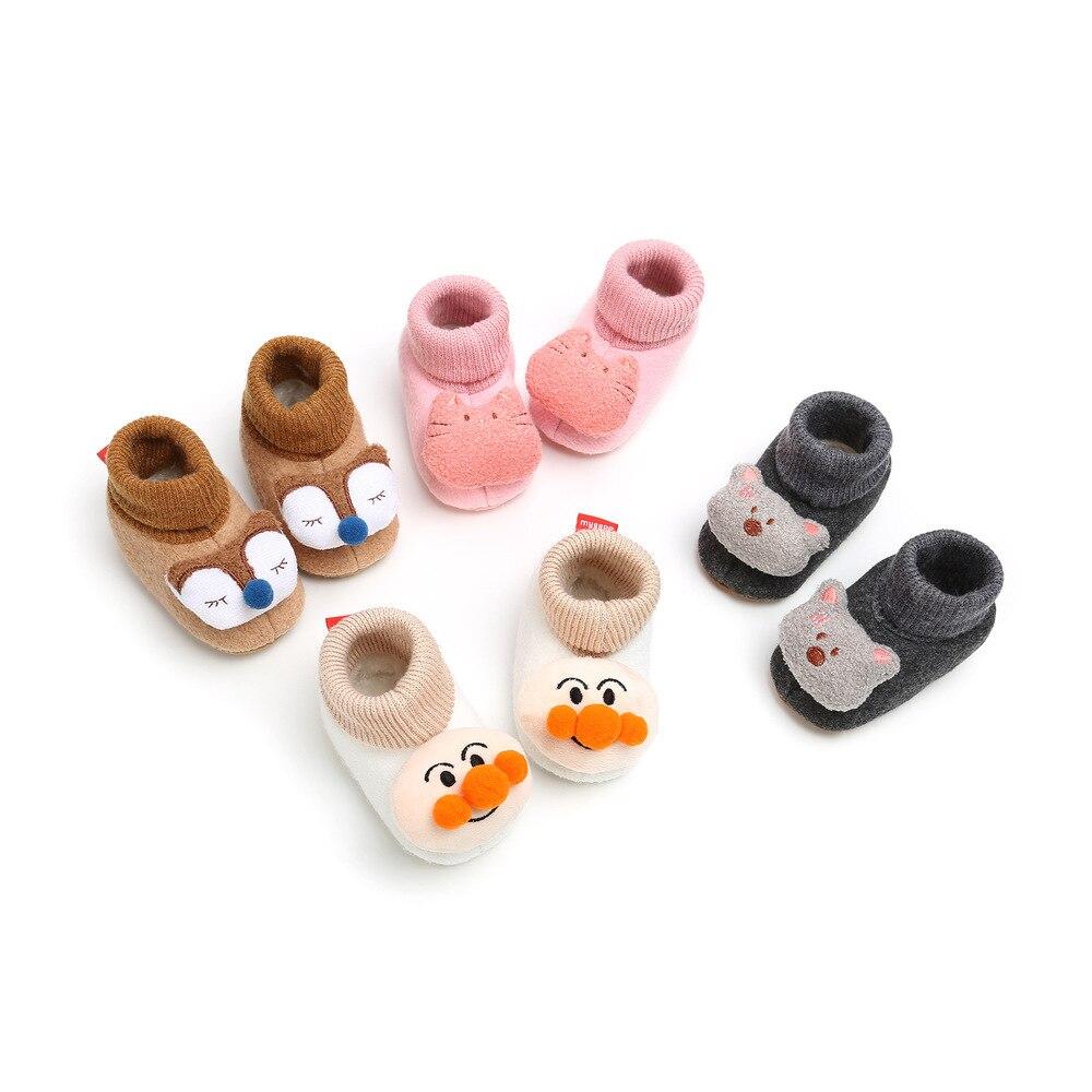 Newborn Baby Socks Shoes Boy Girl Animal Cartoon Winter Fluff Warm Toddler Orewalks Comfort Soft Anti-slip Infant Crib Shoes